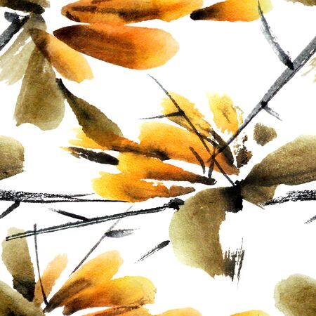 spring summer: Flower branch. Watercolor painted illustration in traditional style sumi-e, u-sin. Seamless pattern. Stock Photo