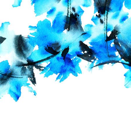 Blauwe bloemen. Aquarel geschilderd abstract achtergrond