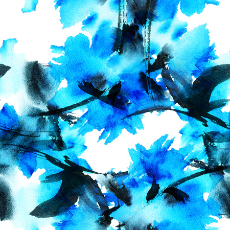 brush painting: Blue flower. Seamless pattern. Stock Photo