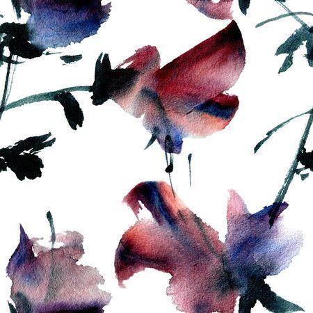 floral decoration: Purple flowers. Seamless pattern. Stock Photo