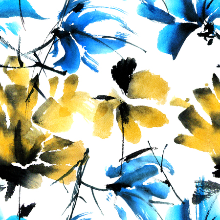 yellow blossom: Flowers. Watercolor painted seamless pattern.