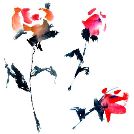 Aquarel geschilderd rozen. Stockfoto