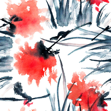 Rode bloemen. Aquarel geschilderd naadloos patroon.