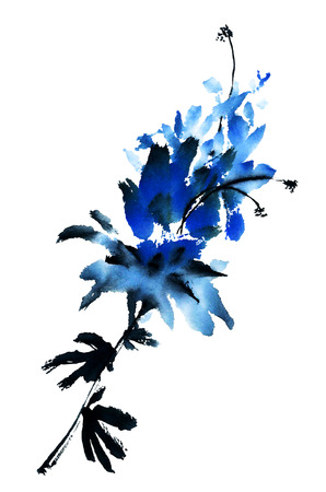 china art: Blue flower. Watercolor.