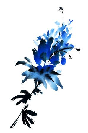 flores chinas: Flor azul. Acuarela. Foto de archivo