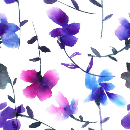 violets: Violets. Watercolor painted seamless pattern. Stock Photo