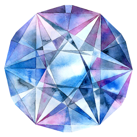 Diamond. Abstract geometric pattern. Watercolor. Banco de Imagens