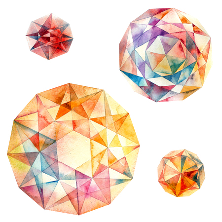 Diamonds. Watercolor illustration of crystal.