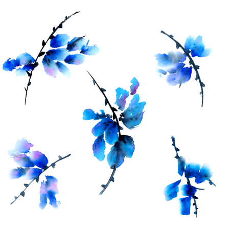 Blauwe bloemen. Waterverf schilderen in traditionele Aziatische stijl sumi-e, u-zonde.