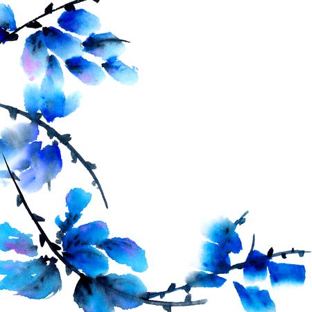 esquineros de flores: Flores azules. Pintura de la acuarela en el tradicional estilo asi�tico sumi-e, u-pecado. Fondo decorativo.