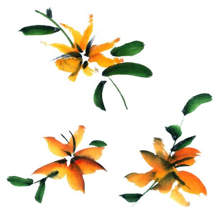 brush painting: Flowers. Watercolor and ink illustration in style sumi-e, u-sin. Oriental traditional painting.