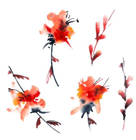 Bloemen. Waterverf en inkt illustratie in stijl sumi-e, u-zonde. Oosterse traditionele schilderkunst.