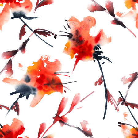 sapling: Floral background. Watercolor and ink illustration in style sumi-e, u-sin. Oriental traditional painting. Seamless pattern.