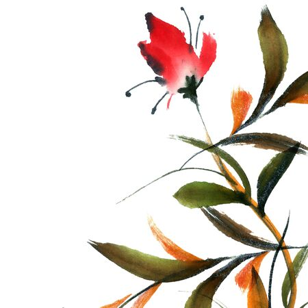 sapling: Floral background. Watercolor and ink illustration in style sumi-e, u-sin. Oriental traditional painting.