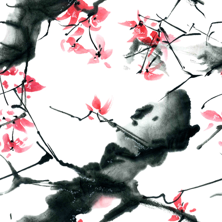 japanese people: Watercolor and ink illustration in style sumi-e, u-sin. Oriental traditional painting. Seamless pattern.