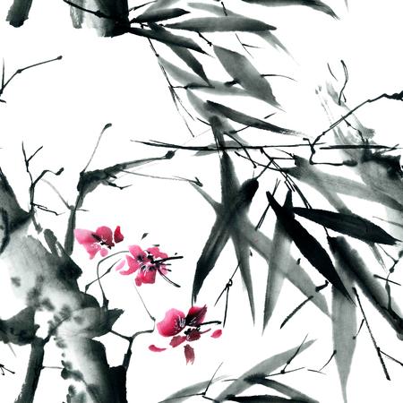 Waterverf en inkt illustratie in stijl sumi-e, u-zonde. Oosterse traditionele schilderkunst.