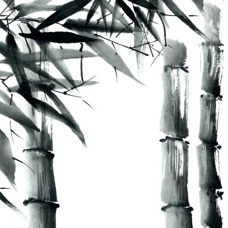 bambou: Aquarelle et encre illustration dans le style sumi-e, u-sin. Peinture traditionnelle orientale. Banque d'images