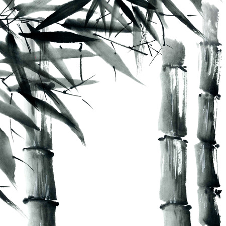 bamboo plant: Watercolor and ink illustration in style sumi-e, u-sin. Oriental traditional painting. Stock Photo