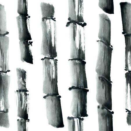bambou: Aquarelle et encre illustration dans le style sumi-e, u-sin. peinture traditionnelle orientale. Seamless.