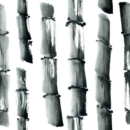 bamboo: Watercolor and ink illustration in style sumi-e, u-sin. Oriental traditional painting. Seamless pattern.