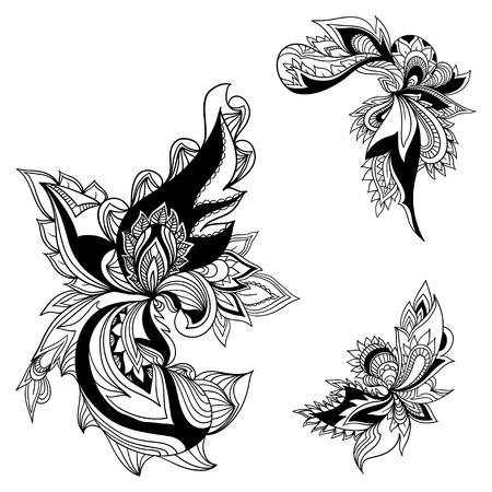 antique asian: Graphic floral design element. Paisley. Vector format.