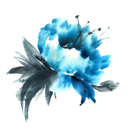 sumi e: Watercolor and ink illustration in style sumi-e, u-sin. Oriental traditional painting