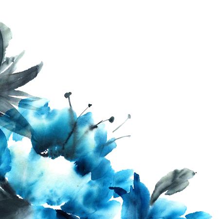 スタイル墨絵、水彩、インク イラスト u 罪。東洋の伝統的な絵画 写真素材