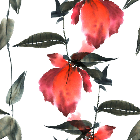 sumi e: Watercolor and ink illustration in style sumi-e, u-sin. Oriental traditional painting. Seamless pattern.