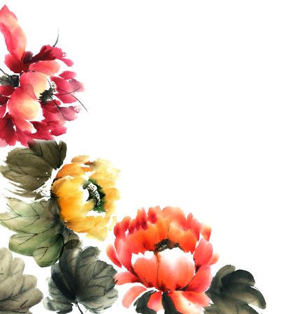 sumi e: Watercolor and ink illustration of flowers - decorative background Stock Photo
