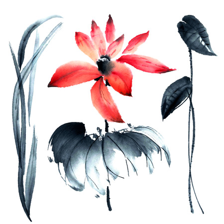 sumi e: Watercolor and ink illustration of lotus in style sumi-e, u-sin. Oriental traditional painting Stock Photo