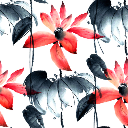 sumi e: Watercolor and ink illustration of lotus flowers in style sumi-e, u-sin. Oriental traditional painting. Seamless pattern. Stock Photo