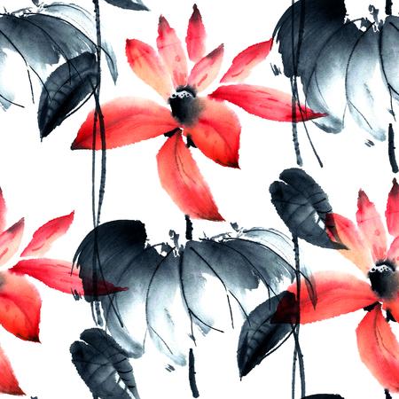 Waterverf en inkt illustratie van lotusbloemen in stijl sumi-e, u-zonde. Oosterse traditionele schilderkunst. Naadloos patroon.