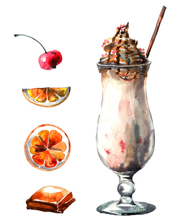 Dessert. Milk shake with ice cream. Watercolor hand drawn illustration.