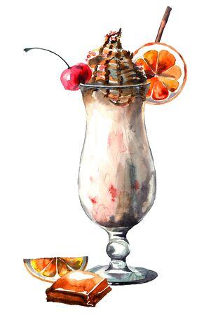Dessert. Milk shake with ice cream. Watercolor hand drawn illustration. Stock Photo