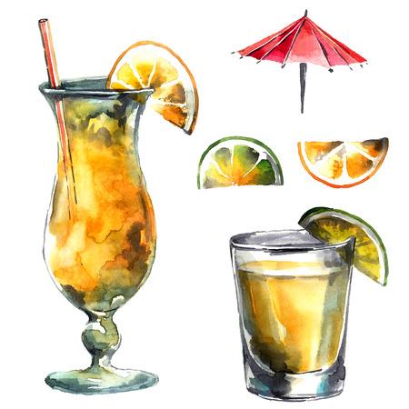 Aquarel hand getekende illustratie van cocktail en citrusvruchten.