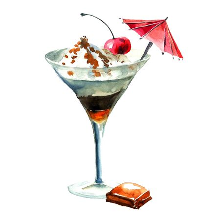 sirup: Milk shake with ice cream and alcohol. Watercolor hand drawn illustration.