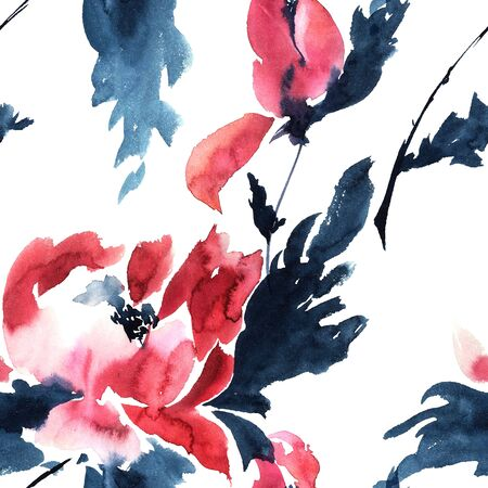 Red peonies. Watercolor illustration - seamless pattern. Sumi-e, u-sin style.