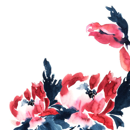Rode pioenrozen. Aquarel illustratie voor wenskaart of uitnodiging. Sumi-e, u-sin-stijl.