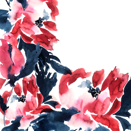hand drawing: Red peonies. Watercolor illustration.