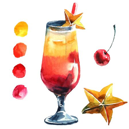 sirup: Cocktail with cherry and carambola. Watercolor hand drawn illustration.