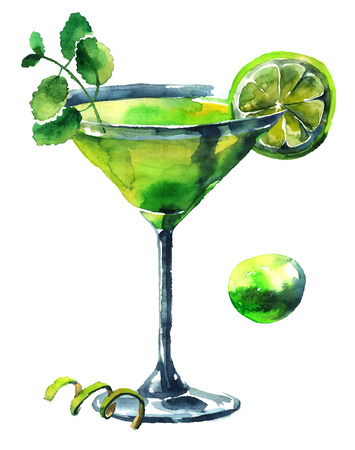 sirup: Fresh mojito cocktail with lime and  mint. Watercolor hand drawn illustration. Stock Photo