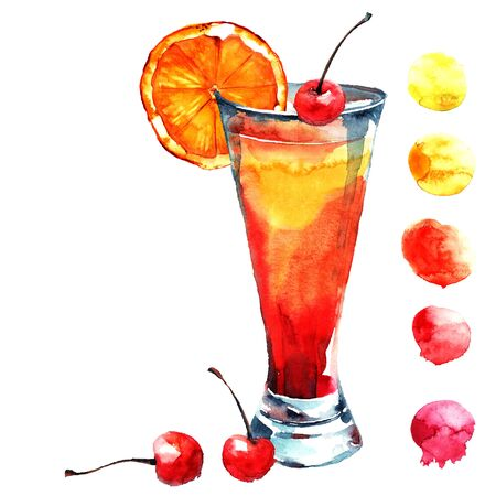 sirup: Cocktail with cherry and orange. Watercolor hand drawn illustration.