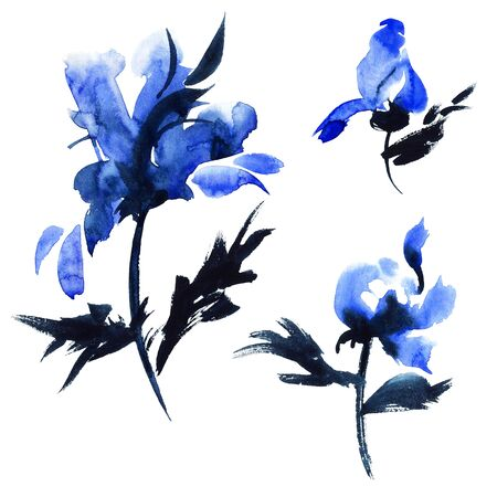 Watercolor and ink illustration of blue flowers. Sumi-e, u-sin. Oriental traditional painting