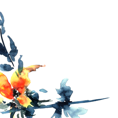 sumi e: Floral background. Watercolor illustration for greeting card or invitation. Stock Photo