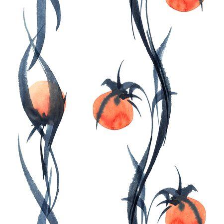 dessin fleur: Aquarelle et encre illustration de fleurs. Banque d'images