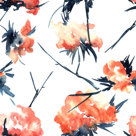 sumi e: Watercolor and ink illustration of flowers.