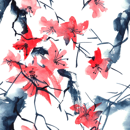 sumi e: Sakura. Watercolor and ink illustration in style Stock Photo