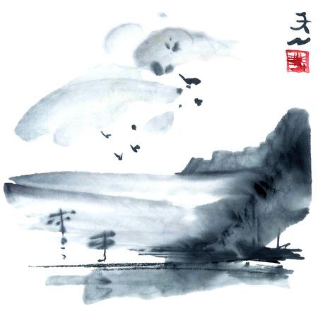 Waterverf en inkt illustratie van japan natuur.