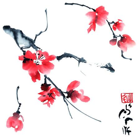 Waterverf en inkt illustratie van bloesem boom.