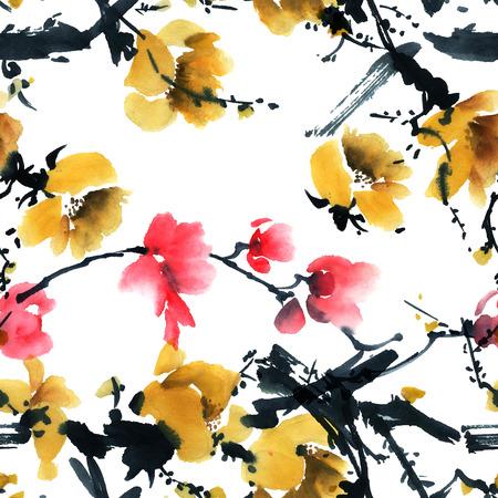 flores chinas: La acuarela y de la tinta del árbol de la flor.